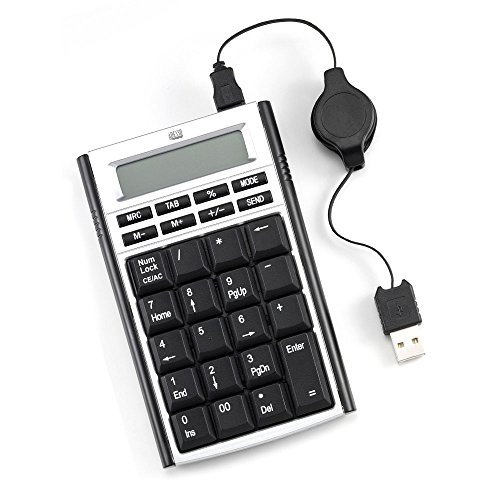 Adesso Numeric USB Keypad with Built-in Calculator with Retractable Cable (AKP-160) by Adesso
