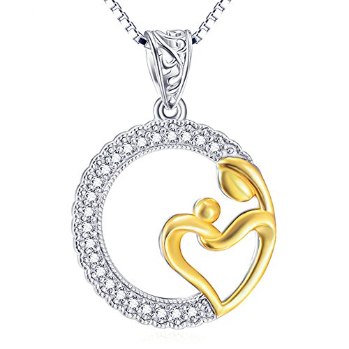 Drake And Nicki Minaj Costume (Mother and Baby Mother's Love 925 Sterling Silver Gold Plated Crystal Necklace)