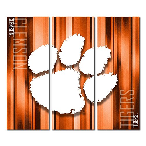 Victory Tailgate Clemson University Tigers Canvas Wall Art Triptych Rush Design (48x54 Triptych)