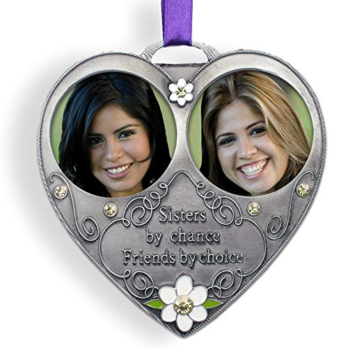 BANBERRY DESIGNS Sisters Photo Ornament - Double Picture Ornament for Sisters - Pewter Metal with White Daisies and Embossed with Saying - Sisters by Chance Friends by Choice - Sister Gifts