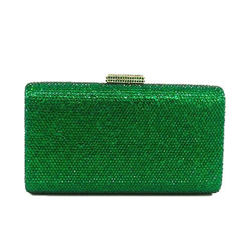 Luxury Crystal Evening Purse Wedding Cocktail Party Handbag Clutch Bag (Green)