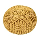 Mod Provisions Agna Home Decor Vibrant Yellow Handmade Round Knitted Pouf Floor Cushion