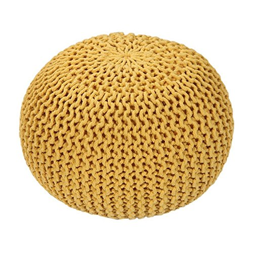 Mod Provisions Agna Home Decor Vibrant Yellow Handmade Round Knitted Pouf Floor Cushion by Mod Provisions