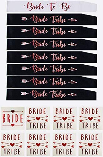 Rose gold bachelorette party sash set:8 unique bride to be sash/bride tribe sash with 8 bonus bride/bride tribe tattoos, bridesmaids sash, team bride sash,bridal shower favors,supplies and decorations