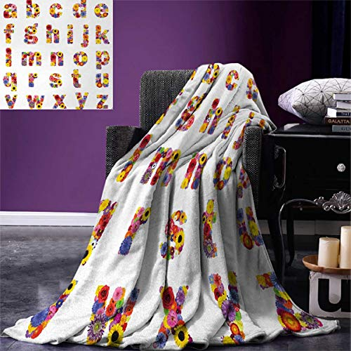 - Anniutwo Letters Super Soft Blanket Floral Alphabet Blooming Letters Sunflower Cornflower Dahlia Rainbow Image Oversized Travel Throw Cover Blanket 90