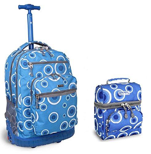 J World Target Blue Sundance Roller Backpack Back Pack and Corey Lunch Bag Set