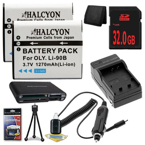 Olympus Tough TG-1 iHS Digital Camera TWO LI-90B Batteries + Wall Charger with Car Charger Adapter + 32GB SDHC + USB Card Reader + Memory Card Wallet + Deluxe Starter Kit DavisMAX LI90B Battery Charger Bundle by DavisMAX