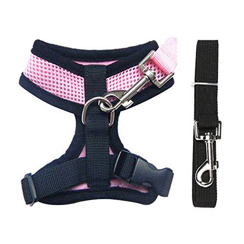 Contever® Verstellbar Rückseite Clip Harness Hundegeschirr Welpengeschirr Softgeschirr Brustgeschirr Halsbänder mit Leine (S: Brustumfang: 31cm; Halsumfang:22cm)-Rosa