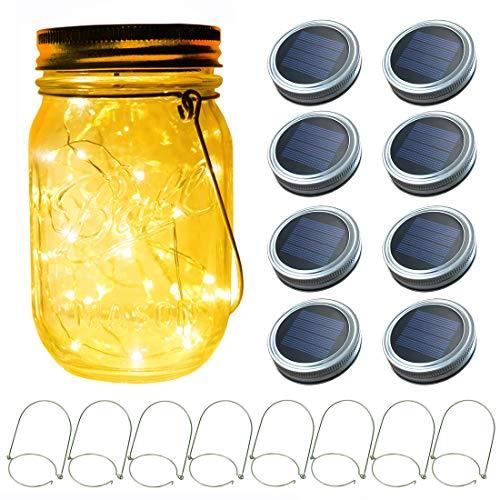 8-Pack 20 LEDs Solar Mason Jar Lid String Lights,Led Fairy Firefly String Lights with Mason Jar Lid,Fits Regular Mouth Mason Jars,8 Hangers Included(No Jars),Best Wedding Yard Garden Lighting Decor from Vknic