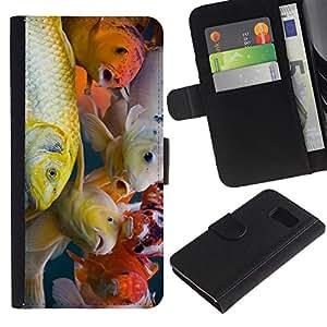eJoy carpeta del tirón la caja de cuero de alta calidad de la PU Caso protector/Samsung Galaxy S6/-Colorido pescados de Koi