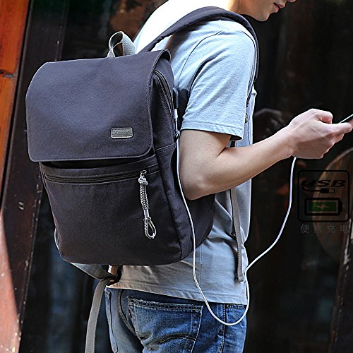 "Eshow Mochila de Carga USB para Portátiles de hasta 15.6"" Bolso Mochila de Tela Escolar Viajes Senderismo Camping azul"