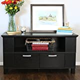 "Walker Edison 44"" Columbus Wood TV Console, Black"