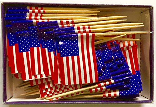 United States Flag Toothpick (Box of 100 Toothpicks) USA Flags - Food Picks for Parties, Cocktails, Cupcakes - Wood Toothpick and Paper (American Flag Cupcake Picks)