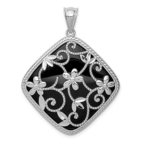 - 925 Sterling Silver Textured Black Onyx Pendant Charm Necklace Natural Stone Fine Jewelry Gifts For Women For Her