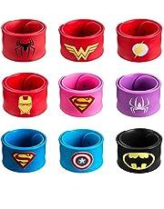 9 pcs Cartoon Comics Slap Bracelets Silicone Slap Wristband Dress up Cosplay Costume Party Birthday Supplies Favors for Boys & Girls(Random Pattern)