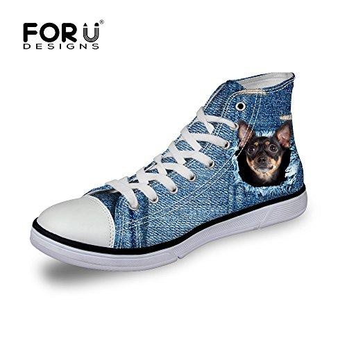 Voor U Ontwerpt Schattige Hond En Kat Print Hoge Top Dames Gepersonaliseerde Herenmode Canvas Mode Sneakers Lace Up Zwarte Hond