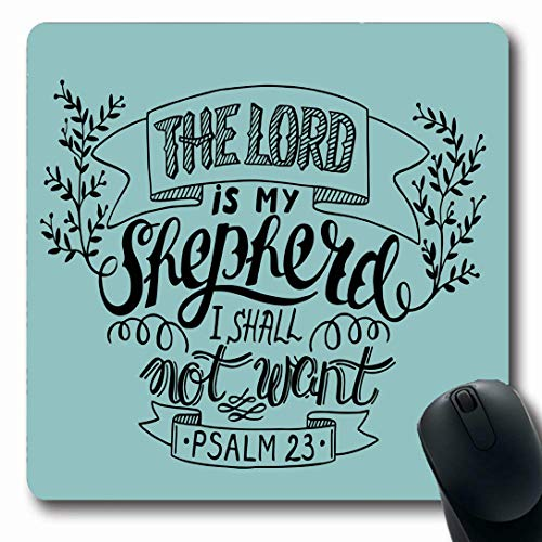 Ahawoso Mousepads for Computers Joy Believe Hand Lettering Lord My Shepherd Shall Psalm Vintage Bell Bible Biblical Christ Oblong Shape 7.9 x 9.5 Inches Non-Slip Oblong Gaming Mouse Pad