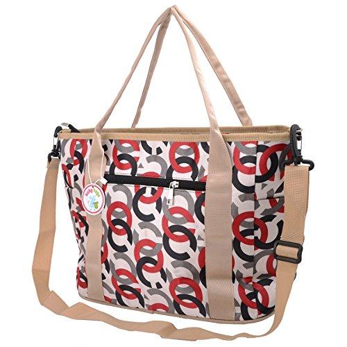 Babyhugs® Cute diseño cambiador 3piezas Bolso cambiador de pañales bolsa Set incluido morado Tote - Large Flowers Tote - Chain Links