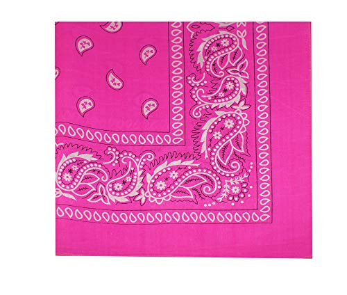 (M.H.I. 12 Pack One Dozen Color Double Sided Print Paisley Cowboy Novelty 100% Cotton Bandana Scarf(Many Colors) (Neon)