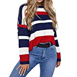 Womens Autumn Winter Knitted Blouse,Casual O Neck Pullover Tops Coloblock Long Sleeve Patchwork Sweater (Red, S)