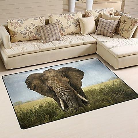 WOZO Vintage African Elephant Area Rug Rugs Non-Slip Floor Mat Doormats for Living Room Bedroom 60 x 39 (Elephant Floor Rug)