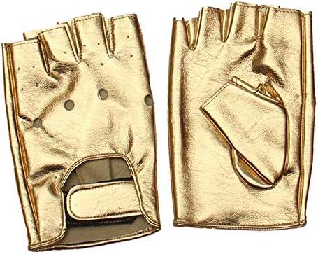 手袋 日常 実用 男性用手袋ハーフフィンガーバンデージストリートダンスパンクパフォーマンスグローブ (Color : Gold, Size : One size)