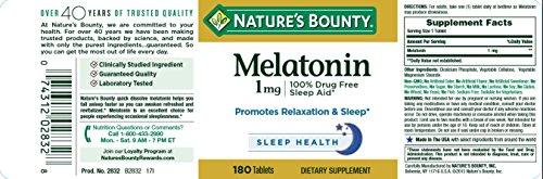 Nature's Bounty Melatonin 1 mg, 180 Tablets by Nature's Bounty (Image #3)