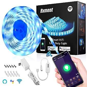 Rxment RGB LED Strip Lights - Alexa LED Light Strip, LED Night Light,LED  Rope Lights,Alexa Accessories, LED Lights (Premium 16 ft 5050 LED Strip +  12V