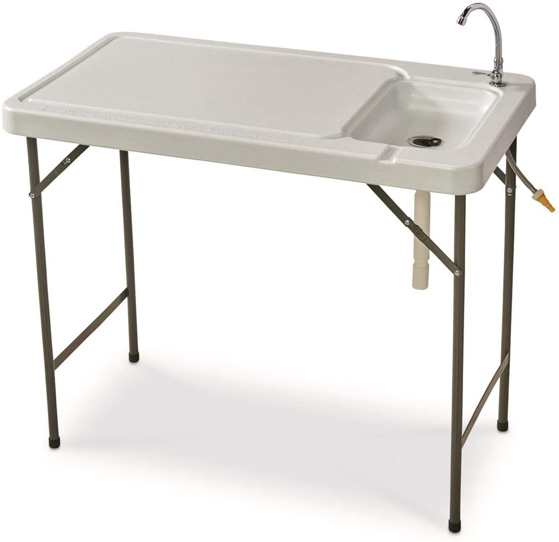 Guide Gear Portable Folding Fish/Game Cleaning Camp Table with Sink and Faucet, Outdoor Fishing Washing Station for Boat, Dock