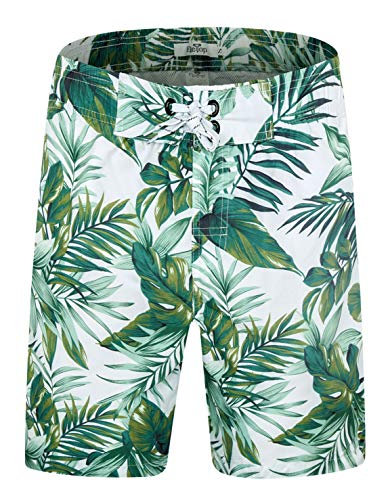 ELETOP Men's Swim Trunks Quick Dry Board Shorts Beach Holiday Swimwear Print Bathing Suits Leaf Green EHSN007-XL