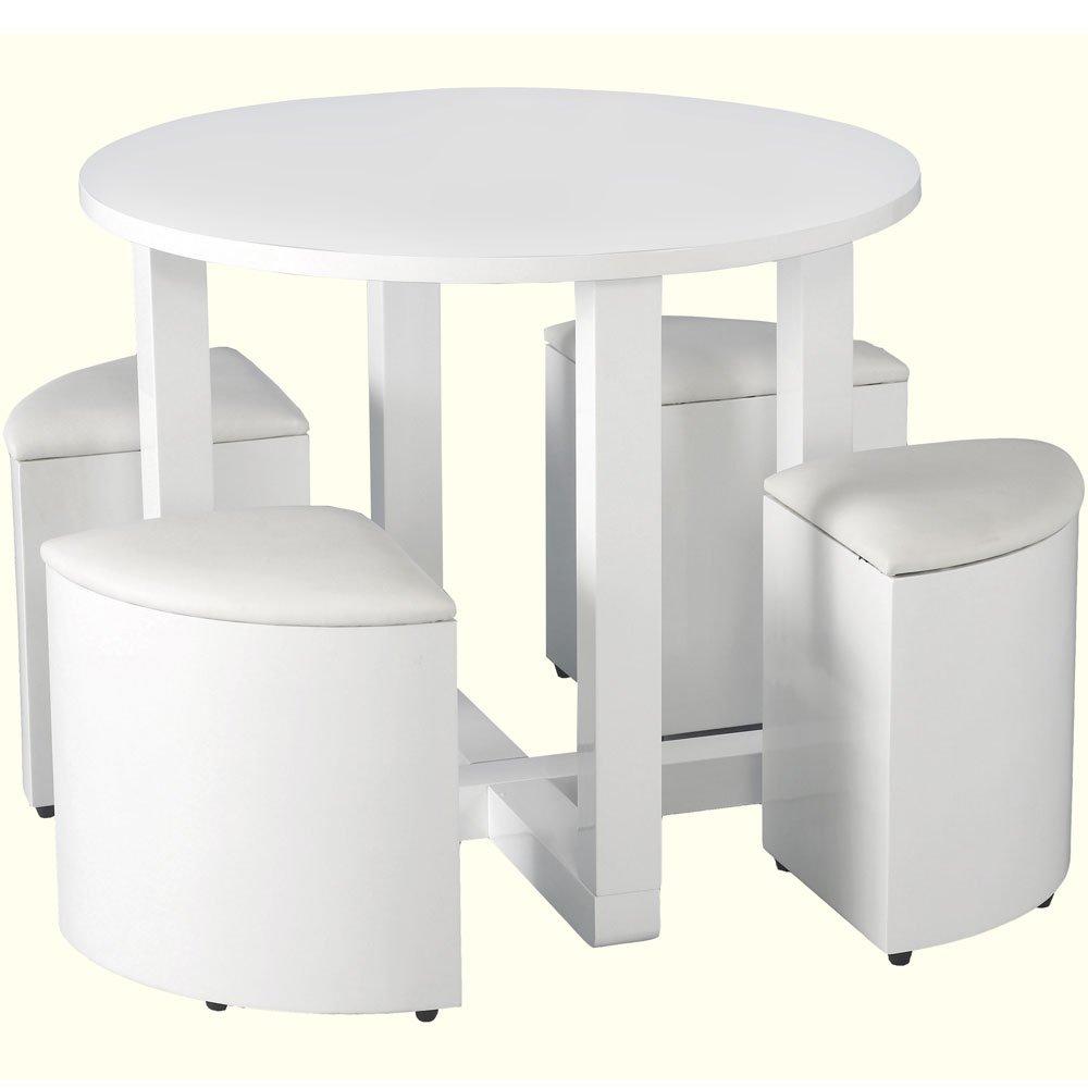 Charisma Stowaway White Gloss Round Dining Table + 4 White Stool:  Amazon.co.uk: Kitchen U0026 Home
