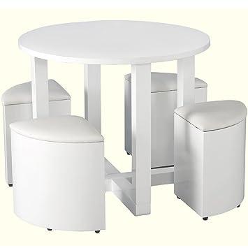 Charisma Stowaway White Gloss Round Dining Table 4 White stool