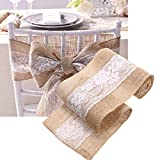 PyLios(TM) 15240cm Natural Jute Burlap Ribbon Lace Roll DIY Rustic Wedding Decoration Cake Topper Table Decor Hessian Bowknot Ribbon