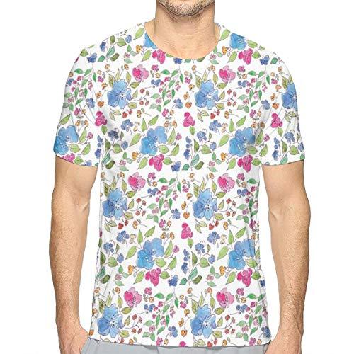 3D Printed T Shirts,Composition of Hand Drawn Flowers Simplistic Garden Art Design Cottage Spring Nature (Lounge Designs Cottage)