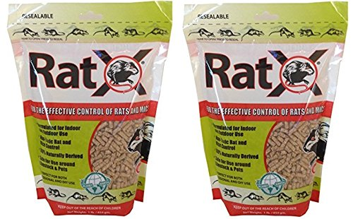 RATX INDOOR AND OUTDOOR RAT and MICE KILLER NON TOXIC ALL NATURAL SAFE AROUND PETS and LIVESTOCK 1 POUND (2 Bags)