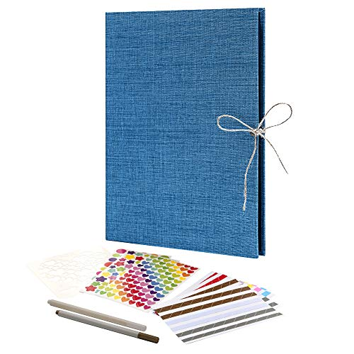 Linen Scrapbook, Guest Book, 70 Black Pages Photo Album, 11.2 x 8.4 Inch DIY Photo Album, Great Craft Paper for Anniversary, Family, Wedding, Travel, Memory Book (Blue)