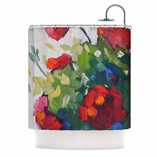 KESS InHouse Carol Schiff Cheerful Geranium Red Painting Shower Curtain, 69
