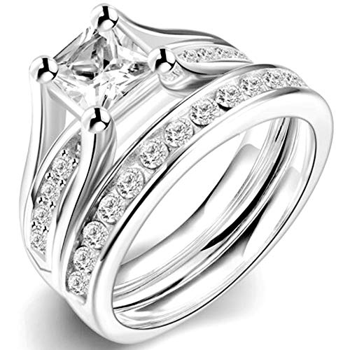 2.0 Carat Princess Cut Wedding Engagement Ring, 925 Sterling Silver and Stainless Steel (Stainless-Steel, 9)