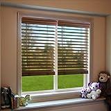 DEZ Furnishing QJBK204720 2 in. Cordless Faux Wood Blind, Dark Oak - 20.5 W x 72 L in.