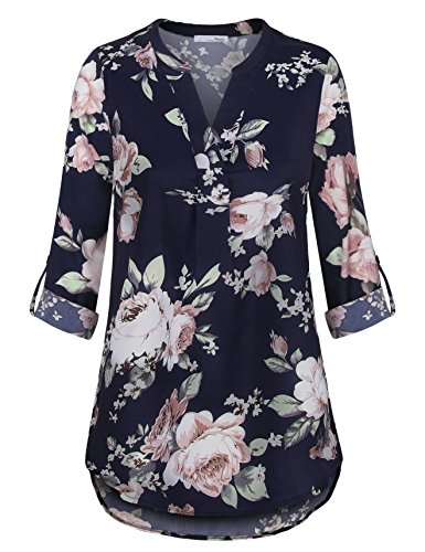 (Messic Direct Petite Flower Printed Blouses for Women Summer Cool Chiffon Notch V Neck Pleat Long Blouse Shirts Multicolor Blue Small)