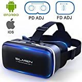 SILMIEN 3D VR Glasses Upgrade Replaceable Leather Patch Even for Near-Sighted Adjustable Pupil and Object Distance Separately Portable Virtual Reality Headset Movies and Games for IOS and Android