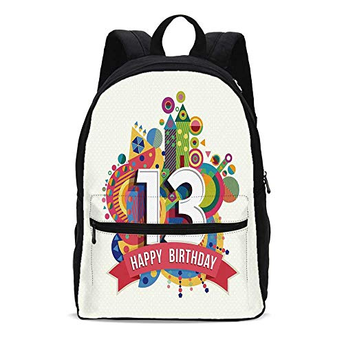 13th Birthday Decorations Durable Backpack,Artistic Design Greeting Label Dots Geometric Vibrant Fun Graphic for School Travel,10.6