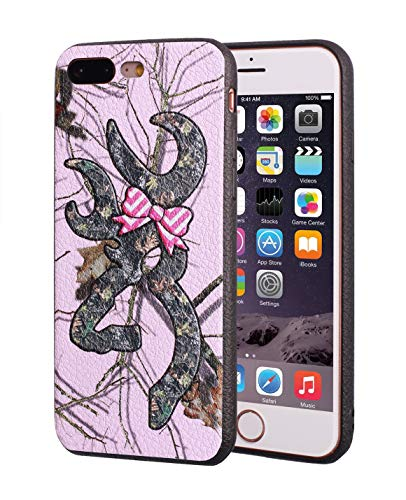 iPhone 7 Plus Case,iPhone 8 Plus Case,Browning Camo Deer Hunter with Pink Bow Design Slim Anti-Scratch Leather Grain Rubber Protective Case for Apple iPhone 7 Plus/iPhone 8 Plus 5.5 inch ()