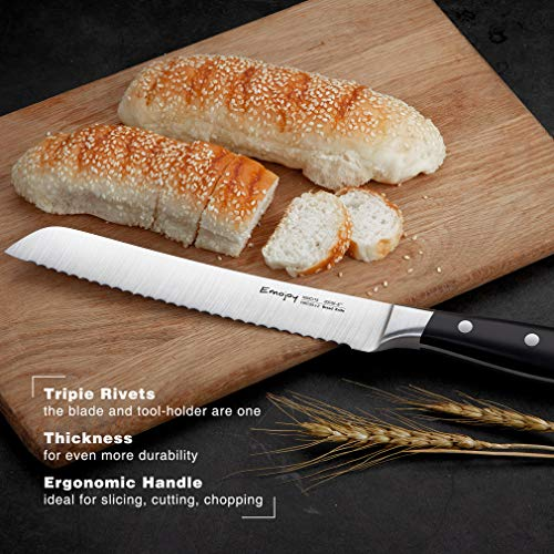 Knife Set, 8-Pieces Kitchen Knife Set with Block Wooden, Self Sharpening Manual for Chef Knife Set, German Stainless Steel, Emojoy (Gray) by Emojoy (Image #4)