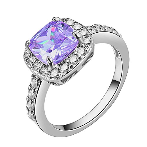 Impression Collection Square Violet Amethyst Rings Wedding Party Statement CZ Cocktails Gold Plated Classic Fashion Size 5-10 (Purple, 10)