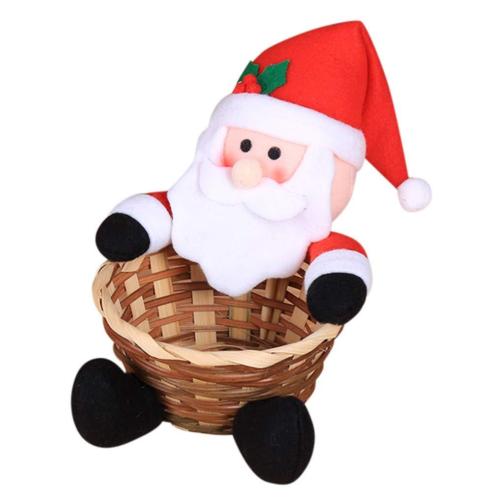 Quaanti 2018 Convenient Beautiful Christmas Candy Storage Basket Decoration Santa Claus Kid's Storage Basket Gift Merry Xmas Decor (A)