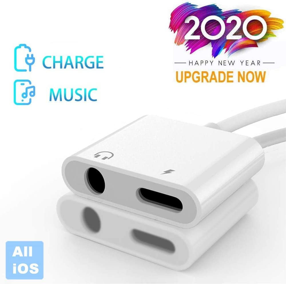 Lightning to 3.5 mm Headphone Jack Adapter Apple MFi Certified iPhone Charge Audio Splitter Headphone Adapter Compatible for iPhone 11 XR XS X 7 8 7P 8P