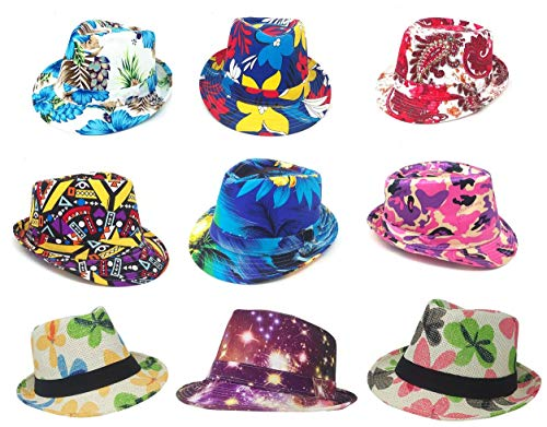 6 Multiple Style Full Color Prints Fedora Hats Styles Random Assortment Beach, Flowers, Hawaii, Lightweight Classic Wholesale Bulk LOT