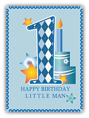 happy first birthday little man car bumper sticker decal 8 x 12 cm