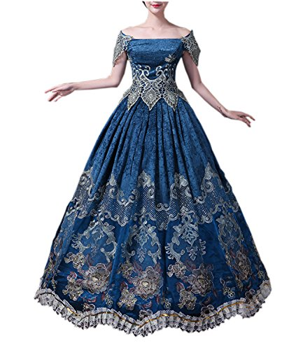 Nuoqi Gothic Victorian Costume Women's Halloween Cosplay Dress (Large, (Ruffle Vampiress Costumes)